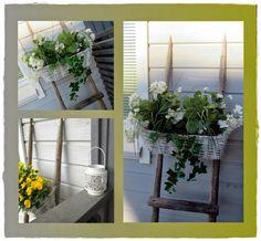 Kukkatikkaat Ladder Decor, Wreaths, Home Decor, Decoration Home, Room Decor, Bouquet, Interior Decorating, Floral Arrangements
