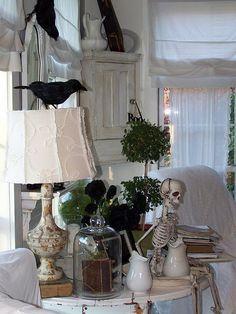 Like the black crows & simple black & white decor