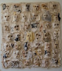 "The series ""Grey Veiled Faces"" of Arlene Morris is made from handmade kozo paper with mica, fibers, linen and paint. Textile Fiber Art, Textile Artists, A Level Textiles, Textiles Sketchbook, Conceptual Drawing, Found Object Art, Painting Workshop, Feminist Art, Anatomy Art"