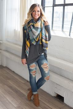 Kleidung Plaid Blanket Scarf - Mustard/Teal/Navy - Magnolia Boutique When It Comes To High-Auality M Trendy Fall Outfits, Fall Winter Outfits, Casual Outfits, Cute Outfits, Plaid Fall Outfits, Blanket Scarf Outfit, Plaid Blanket, Plaid Scarf Outfit, Scarf Outfits