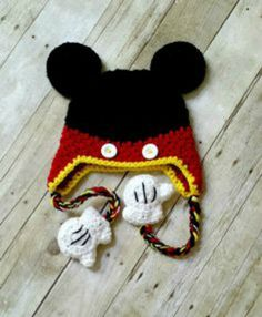 Crochet Mickey Mouse Beanie Hat Ears Gloves by WhimsybooBoutique