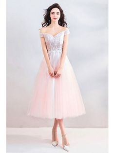 Peachy Pink Off Shoulder Tea Length Wedding Party Dress With Beading Girls Bridesmaid Dresses, Pink Prom Dresses, Wedding Party Dresses, Girls Dresses, Tea Length Wedding, Tea Length Dresses, Classy Dress, Ball Gowns, Beading