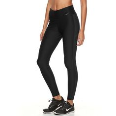 Women's Nike Power Training Workout Tights (€34) ❤ liked on Polyvore featuring activewear, activewear pants, grey, nike, nike activewear pants, nike sportswear and nike activewear