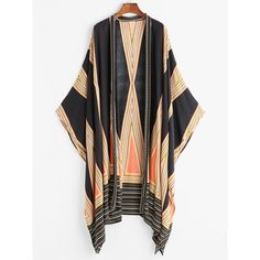 SheIn(sheinside) Geo Print Kimono ($18) ❤ liked on Polyvore featuring intimates, robes, multicolor, boho kimono, long sleeve kimono, colorful kimono and kimono robe