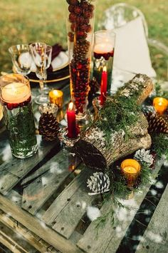 Paige Brown Designs Rustic, outdoor, tablescape, fall decor, christmas www.paigebrowndesigns.com