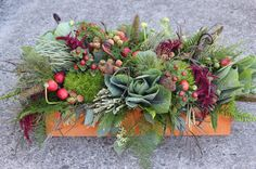 Sophisticated Floral Designs Portland, OR centerpiece with texture woodland design vegitable fruits berries kale