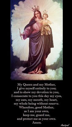 Daily consecration to the Immaculate Conception Prayers To Mary, Catholic Prayers, Special Prayers, Blessed Mother Mary, Blessed Virgin Mary, Divine Mother, Queen Of Heaven, I Am A Queen, Jesus Pictures