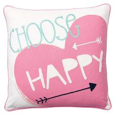 Coastal Inspiration Pillow Cover, Choose Happy by PB Teen