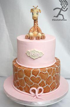 <3 Painted Giraffe Print on Fondant Cake