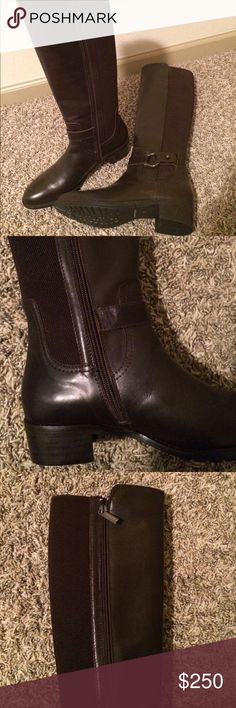 Aquataila by Marvin K Knee High Boots New- never used                                            brown leather knee high zip boots Shoes Winter & Rain Boots