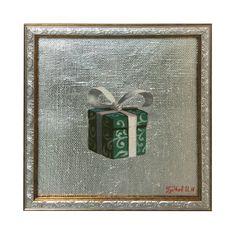 """""""Зимний подарок"""" Гудков Игнатий 25х25 холст, масло, поталь. 2016г."""