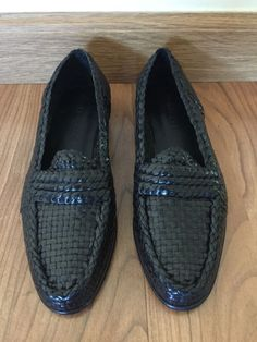 40a6396887b COLE HAAN Black Leather Braided Penny Loafers Women s Sz 6.5