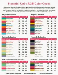 Stamping Inspiration: TOOL TIP TUESDAY: 2013-2014 RGB & HEX Color Code Charts...