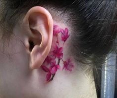 Cherry Blossom Tattoo Behind the Ear.