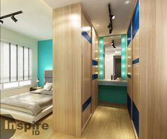 Modern Master Bedroom, Small Room Bedroom, Master Bedroom Design, Walk In Closet Design, Bedroom Closet Design, Studio Apartment Decorating, Apartment Interior Design, Wardrobe Bed, Bed Frame Design