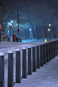 Snowy London: Bollards