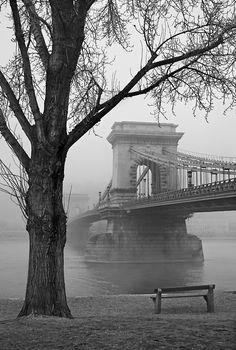 'Széchenyi Chain Bridge - Budapest' by Hercules Milas Love Bridge, Tree Bench, Danube River, Suspension Bridge, Famous Landmarks, Hercules, Shades Of Grey, Hungary, Budapest