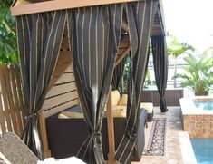 Extra wide and extra long Sunbrella custom curtains available in solids and sheers. UV-blocking to keep you cool!
