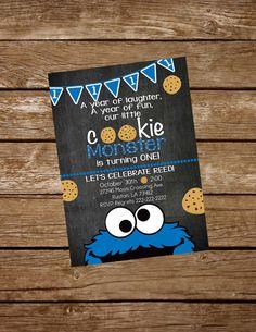 Cookie Monster invitan a cumpleaños por KarliColesInvites en Etsy