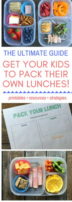 Free printables, resources, and strategies for getting your kids to pack their OWN lunches--at last! via @https://www.pinterest.com/rmnutrition/