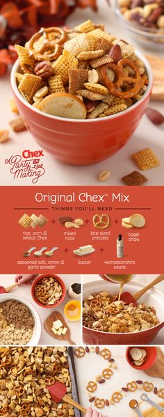 It's celebration time, and this recipe feeds a crowd! Homemade Original Chex Mix has been a holiday party favorite for over 50 years. Keep the tradition going with this easy snack mix, best when share (Chex Mix Original) Snacks Für Party, Easy Snacks, Yummy Snacks, Yummy Food, Healthy Snacks, Party Sweets, Party Desserts, Party Drinks, Sweet Desserts