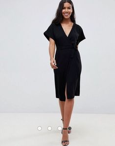 ASOS BNWT Black Wrap Midi Dress 10  fashion  clothing  shoes  accessories   womensclothing  dresses (ebay link) 4e19b975a6