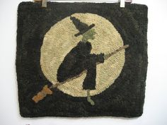 wool folk art hand hooked rug WYTCH WAY wicked witch moon.
