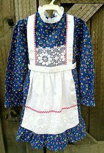 70s 80s JC Penny's Vintage Sz 6X Girls Dress Schoolgirl with Apron | eBay