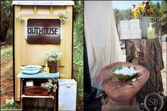 Porta Potty For Outdoor Wedding - Bing Images Bbq Decorations, Flower Decorations, Wedding Decorations, Wedding Ideas, Wedding Stuff, Wedding Kiss, Farm Wedding, Rustic Wedding, Summer Wedding