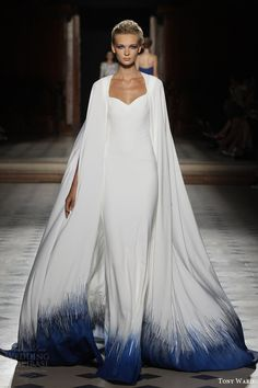 tony ward couture fall winter 2015 2016 look 6 cape sleeveless gown dip effect blue white