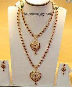 CZ Ruby Necklace and Haram Set - Indian Jewellery Designs Gold Mangalsutra Designs, Gold Earrings Designs, Gold Jewellery Design, Necklace Designs, Gold Designs, Gold Jewelry Simple, Silver Jewellery Indian, Ruby Necklace, Stone Necklace
