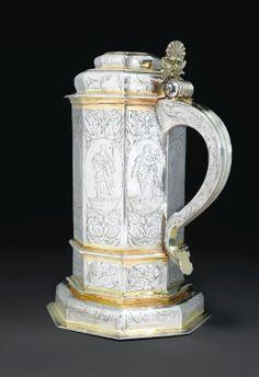 Grande chope en argent et vermeil, apparemment non poinçonnée, probablement Allemagne ou Suède, vers 1640 - Sotheby's