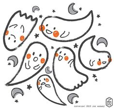 holiday seasonal pattern surface design for licensing or purchase by zoe wodarz Kawaii Halloween, Cute Halloween, Halloween Themes, Halloween Countdown, Ghost Adventures, In The Tree, Surface Design, Illustration Art, Illustrations