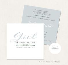 """Geboortekaartje, design, ontwerp, birth announcements, strak, vintage,licht blauw ontwerp by Huis van """"Mijn"""""""
