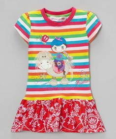 Take a look at this Red & Yellow Stripe 'I Love My Pony' Drop-Waist Dress - Toddler & Girls by Heather Hill on #zulily today!