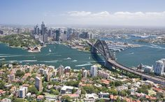 Great view of Sydney Harbour with the City viewed from North Sydney ~ Bridge ~ Opera House ~ Circular Quay ~ Botanical Gardens.