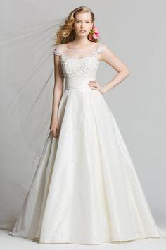 Vintage A Line Cap Sleeves Illusion Back Wedding Dress $437.99 Vintage Wedding Dresses
