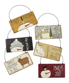 All Is Bright Snowman Sign Ornament Set