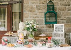 Sweet table from an elegant country house wedding.  Images by Hannah Duffy