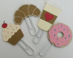 Cupcake, croissant, to-go Coffee Cup and Donut Paperclips Planner Clips Accessories (set of 4)