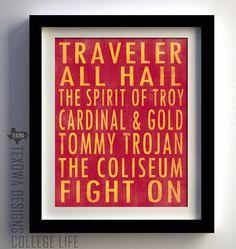 USC Trojans Subway Scroll Art Print by texowadesigns on Etsy, $25.00  Ultimate tailgate fanatics