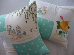 Up cycling - cushions constructed out of gorgeous old op shop embroideries and a modern pale aqua polka-dot print :-)