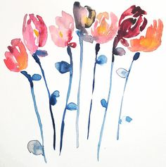"Kiana Mosley | ""the tulips""   #art #floral #watercolor"
