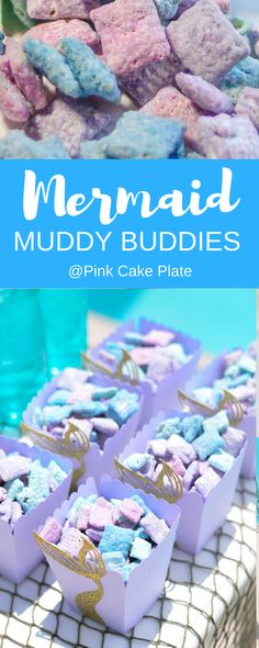 Deliciously wrapped in candy melts and powdered sugar these Mermaid Muddy Buddies are a must have at your next Mermaid party. via Deliciously wrapped in candy melts and powdered sugar these Mermaid Muddy Buddies are a must have at your next Mermaid party. Mermaid Party Food, Mermaid Theme Birthday, Little Mermaid Birthday, Little Mermaid Parties, Girl Birthday, Little Mermaid Food, Paris Birthday, Mermaid Mermaid, Birthday Cake