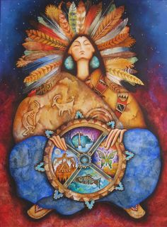 Native American Indian seer and medicine woman by Holly Sierra ~ American Magic realism painter Native Indian, Native Art, Indian Art, Native American Mythology, Native American Indians, Native Americans, Spirit Art, Southwestern Art, Medicine Wheel