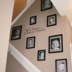 Decorating a stair case wall.