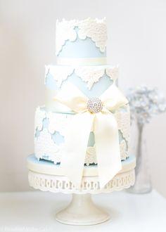 Blue Vintage Lace Wedding Cake by Rosalind Miller Cakes - London
