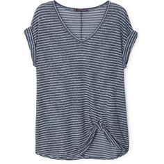 Striped Linen-Blend T-Shirt (€12) ❤ liked on Polyvore featuring tops, t-shirts, shirts, v neck tee, v-neck shirts, tee-shirt, blue striped t shirt and short-sleeve shirt