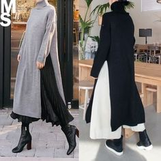 One Piece ★ Shipping included ◆ Turtleneck slit knit dress colors) - - Modesty Fashion, Muslim Fashion, Korean Fashion, Boho Fashion, Fashion Dresses, Womens Fashion, Fashion Design, Hijab Stile, Hijab Fashionista