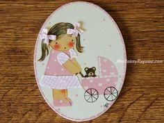 Placa infantil para puerta modelo niña con cochecito de bebé rosa (7,95 €). Placa infantil  hecha en madera y pintada a mano. http://www.mantelesyregalos.com/placas-para-puertas/3079-placa-infantil-puerta-nina-cochecito-bebe-rosa.html #placas #puertas